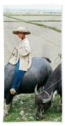 Boys On Water Buffalo In Countryside-vietnam Beach Towel