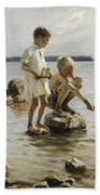 Boys Playing On The Shore Beach Towel