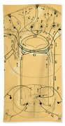 Brain Vestibular Sensor Connections By Cajal 1899 Beach Towel