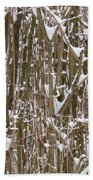 Branches And Twigs Covered In Fresh Snow Beach Towel