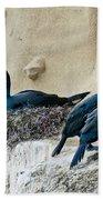 Brandts Cormorant Nesting On Cliff Beach Towel
