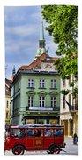 Bratislava Town Square Beach Towel by Jon Berghoff