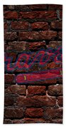Braves Baseball Graffiti On Brick  Beach Towel
