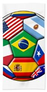 Brazil 2014 - Soccer With Various Flags Beach Towel