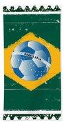 Brazil Flag Like Stamp In Grunge Style Beach Towel