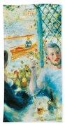 Breakfast By The River Beach Towel by Pierre-Auguste Renoir