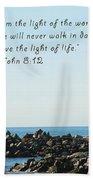 Breakwater Lighthouse Santa Cruz With Verse  Beach Towel