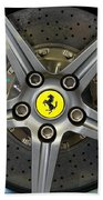 Brembo Carbon Ceramic Brake On A Ferrari F12 Berlinetta Beach Towel