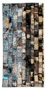 Bricks Of Turquoise And Gold Beach Towel