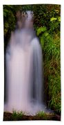 Bridal Dress. Waterfall At Benmore Botanical Garden. Nature Of Scotland Beach Towel