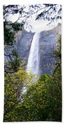 Bridal Veil Falls In Yosemite Valley In Spring- 2013 Beach Towel