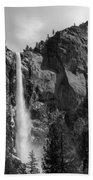 Bridalveil Falls In B And W Beach Towel by Bill Gallagher