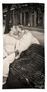 Bride And Daughter Kiss In Jackson Square New Orleans Beach Towel