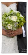 Bride And Groom With Wedding Bouquet Beach Towel