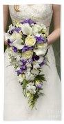 Bride And Wedding Bouquet Beach Towel