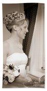 Bride Awaits Her Groom Beach Towel