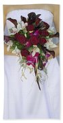 Brides Bouquet And Wedding Dress Beach Towel