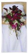 Brides Bouquet And Wedding Dress Beach Towel