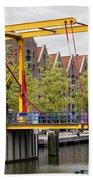 Bridge And Houses On Entrepotdok In Amsterdam Beach Towel