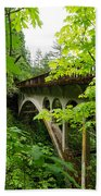Bridge And Lush Vegetation Beach Towel
