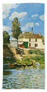 Bridge At Villeneuve-la-garenne Beach Towel by Alfred Sisley