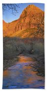Bridge Mt And The Virgin River Zion Np Beach Towel