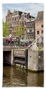 Bridge On Singel Canal In Amsterdam Beach Towel