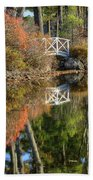 Bridge Over Fall Waters Beach Towel