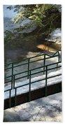 Bridge Over Frozen River Beach Towel