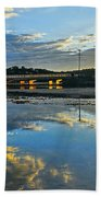 Bridge Over Lake At Sunset Narrabeen Lakes Sydney Beach Towel