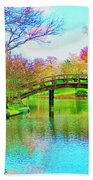 Bridge Over Lake In Spring Beach Towel