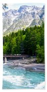 Bridge Over Mcdonald Creek In Glacier Np-mt Beach Towel