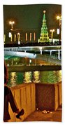 Bridge Over River Near The Kremlin At Night In Moscow-russia Beach Towel