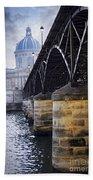Bridge Over Seine In Paris Beach Towel