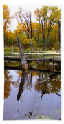 Bridge Over The Pond Beach Towel