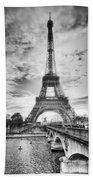 Bridge To The Eiffel Tower Beach Towel by John Wadleigh