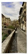 Bridges At Darro Street In Historic Albaycin In Granada Beach Towel