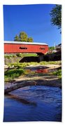 Bridgeton Covered Bridge 4 Beach Towel by Marty Koch