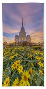 Brigham City Temple Vertical Panorama Beach Towel