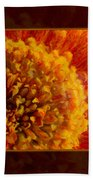 Bright Budding And Golden Abstract Flower Painting Beach Towel