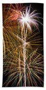 Bright Bursts Of Fireworks Beach Towel