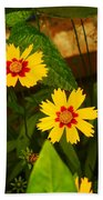 Bright Yellow Flowers Beach Towel