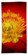 Bright Yellow Poppy Center Beach Towel