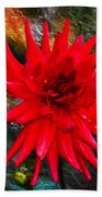 Brilliance In An Autumn Garden - Red Dahlia Beach Towel