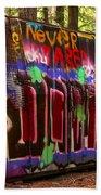 British Columbia Train Wreck Graffiti Beach Towel