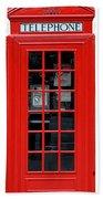 British Phone Box Beach Towel