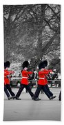 British Royal Guards March And Perform The Changing Of The Guard In Buckingham Palace Beach Towel