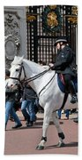 British Royal Guards Perform The Changing Of The Guard In Buckingham Palace Beach Towel