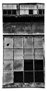Broken Windows In Black And White Beach Towel by Paul Ward