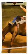 Bronc Bucking Out The Gate Beach Towel
